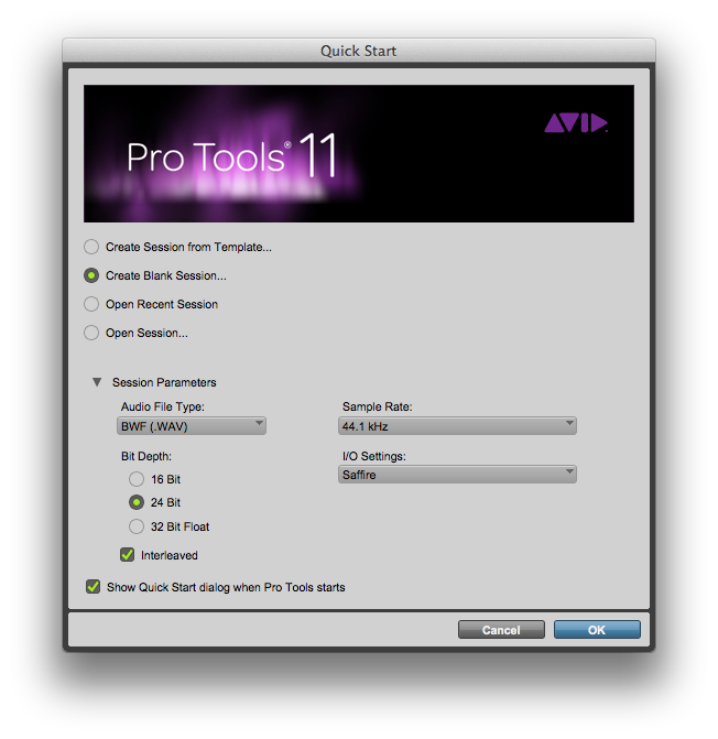 Pro Tools Create New Session Dialog