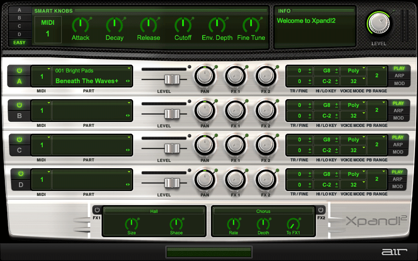 Xpand2 user interface